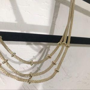 Gorgeous Anne Klein Gold 3 Tier Bib Necklace